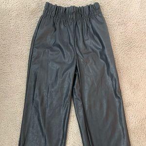 Paper-waist Faux Leather Pants